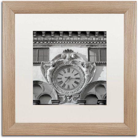 Trademark Fine Art Il Grande Orologio II Canvas Art by Alan Blaustein, White Matte, Birch Frame, Gray