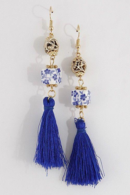 Porcelain Doll Tassel Earrings - Blue + White