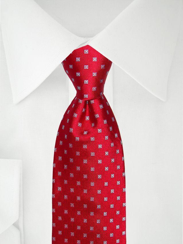 Rote Krawatte mit blauem Karo
