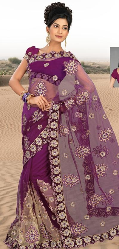 $124.13 Purple Net Saree 20626 With Unstitched Blouse