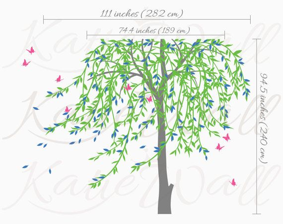 Large willow tree wall decal nursery tree wall by KatieWallDesigns                                                                                                                                                      More