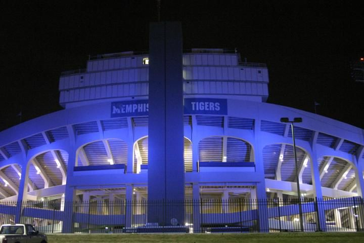 "Liberty Bowl Memorial Stadium at night. The Liberty Bowl was founded in 1959 by Ambrose ""Bud"" Dudley in Philadelphia, PA and was named in honor of that city's historic importance.  As the only cold-weather post-collegiate bowl, it failed miserably.  After a one-year failure in Atlantic City in 1964, the Liberty Bowl was moved permanently to MEMPHIS,TN in 1965.  On December 16, 1965, a healthy crowd of 38,607 (nearly 3x Philly or Atlantic City) came to watch Ole Miss defeat Auburn, 13-7."