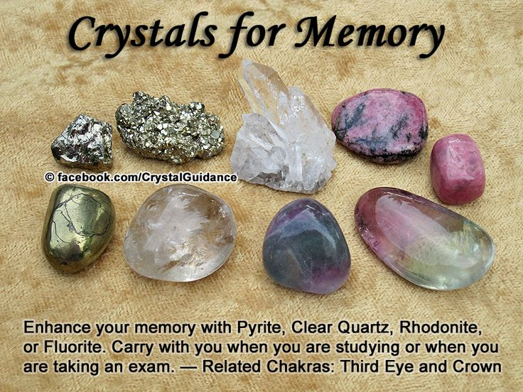 Crystal Guidance: Crystal Tips and Prescriptions - Memory. op Recommended Crystals: Pyrite, Clear Quartz, Rhodonite, or Fluorite.  Additional Crystal Recommendations: Amber, Emerald, Rhodochrosite, or Calcite.  Memory is associated with the Third Eye and Crown chakras. Carry with you when you are studying or when you are taking an exam.