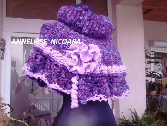 Cape  Cowl Poncho Decorative Purple and Lilac by AnnesMagicCrochet