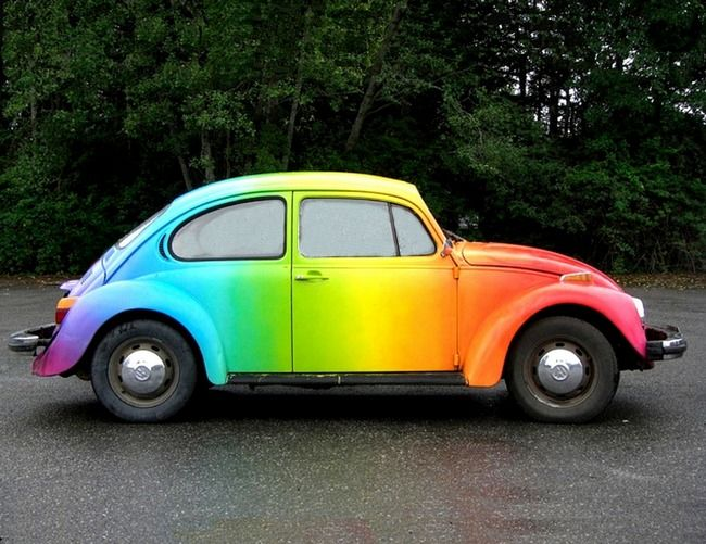 Rainbow VW Beetle   i realize this isn't a bus but  it's gorgeous