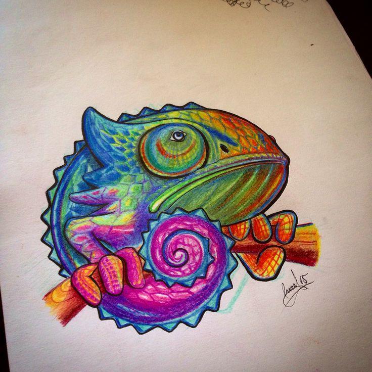 #draw #chameleon #camaleón #flash #diseño #pinceltattoo #dibujo