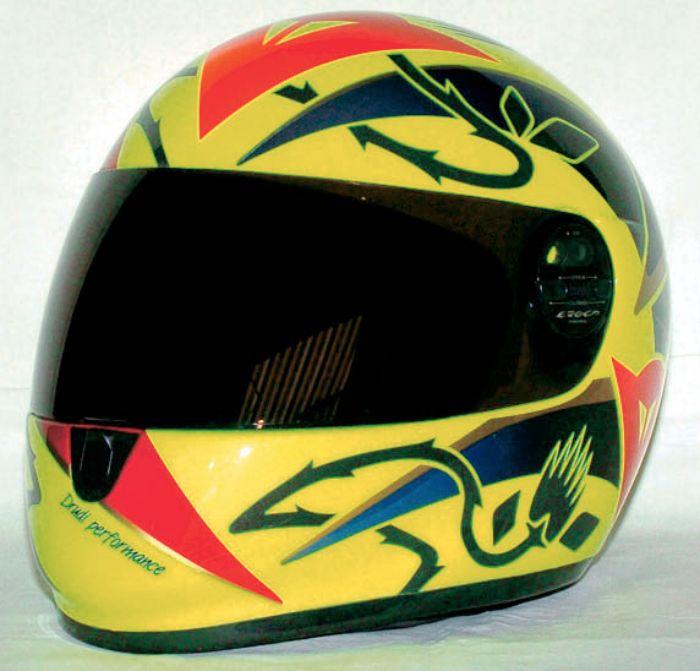 Valentino Rossi's first race helmet