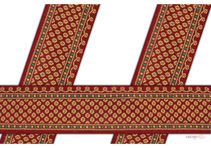 50 mm Indian Saree Borders - Jacquard lace # 002758  Dotted design Jacquard saree border for elegant Indian Saree Design.   This design is made by use of red golden green color.   Visit www.lacxo.com more then 250 variety of laces, tapes, trims, ribbons, webbing and such fashion accessories. You can even mail us at info@lacxo.com for your custom saree border requirement.