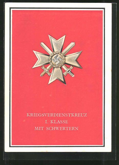old postcard: AK Kriegsorden d. Großdeutschen Reiches, Kriegsverdienstkreuz I. Klasse mit Schwertern
