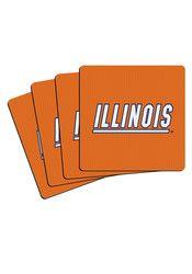 Illinois Fighting Illini 4 Pack Neoprene Coaster