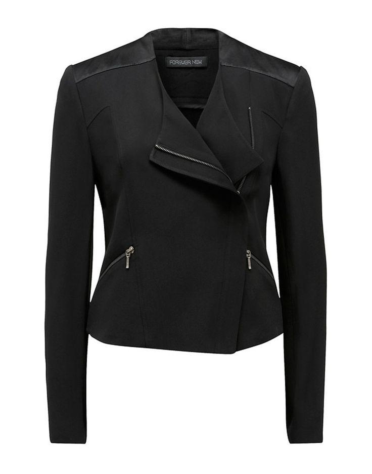 FOREVER NEW   Hanneli Biker Jacket in Black - Women - Style36  #RihannaStyle36