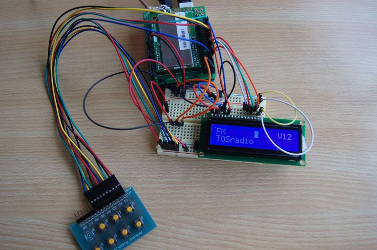 """Complete DAB+ """"receiver"""". Here with Arduino Uno, my interface board and the T3B DAB+ tuner. Because my students could use it with there Arduino box, it is tested with a 2x16 lcd screen and 5 pushbuttons to control the receiver."""