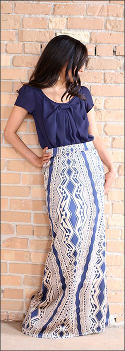 Aztec Maxi Skirt with Bow Top.  Modest, comfortable, cool, and the perfect addition to your summer wardrobe.