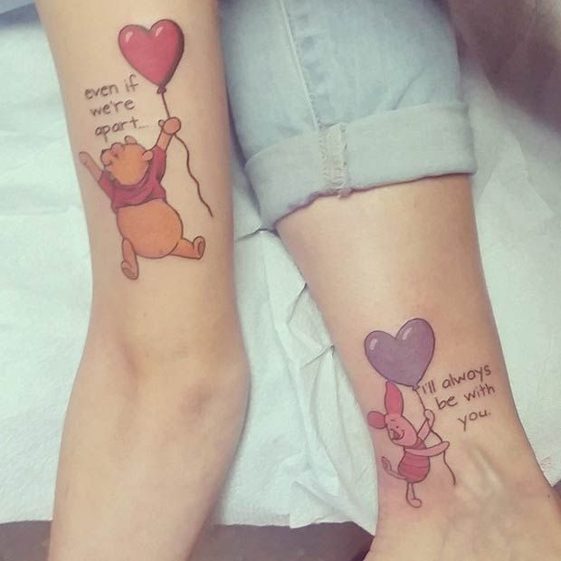 Mother Daughter Winnie the Pooh Tattoos