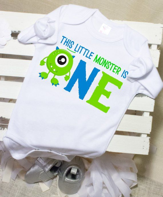 1st Birthday Boy OutfitMonster One First Outfit Shirt Onesie Monster