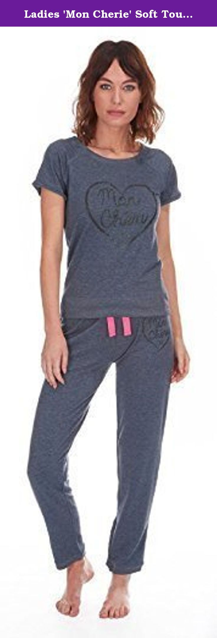 """Ladies 'Mon Cherie' Soft Touch Lounge / Pyjama Set (Medium, Denim Marl). Ladies soft touch lounge set with 'Mon Cheri' design on front. Short sleeve top. Elasticated waist with tie. Approx 27-28"""" inside leg. 62% Polyester, 34% Cotton, 4% Elastane. Small = UK 8-10 = approx EU 36-38 ~ USA 4-6 ~ AUS 8-10 *** Medium = UK 12-14 = approx EU 40-42 ~ USA 8-10 ~ AUS 12-14 Large = UK 16-18 = approx EU 44-46 ~ USA 12-14 ~ AUS 16-18 *** XL = UK 20-22 = approx EU 48-50 ~ USA 16-18 ~ AUS 20-22."""