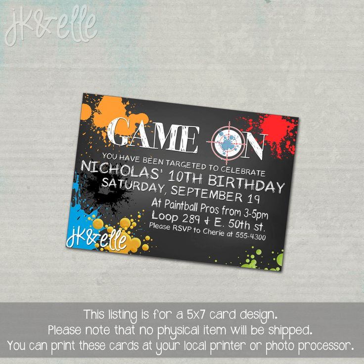 Paintball Birthday Party Invitation by JKandElle on Etsy https://www.etsy.com/listing/248772368/paintball-birthday-party-invitation