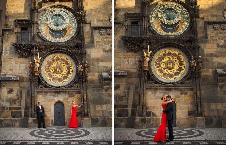 L&G surprise wedding engagement on the Charles Bridge in Prague. Photography by Kurt Vinion