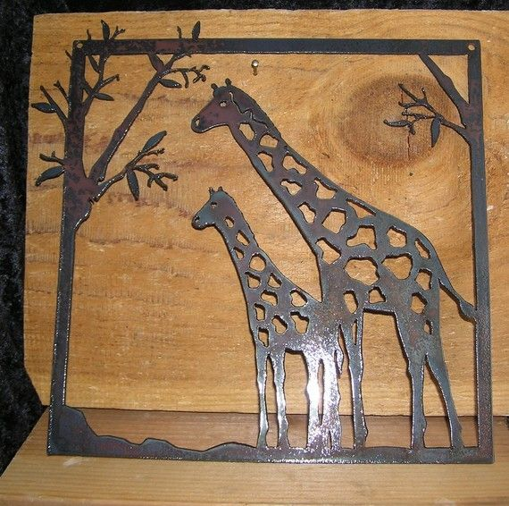 Hey, I found this really awesome Etsy listing at https://www.etsy.com/listing/69988193/giraffes-in-a-park-metal-art