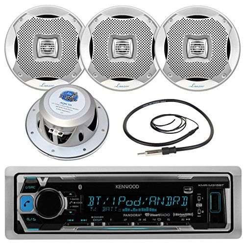 "Kenwood KMRM315BT In Dash Marine Boat Bluetooth Digital USB AUX AM/FM Radio Stereo Player With 4X Lanzar 400 Watt 6.5"" Silver Audio Speakers and Enrock 45"" Radio Antenna -Complete Marine Audio Package - http://www.caraccessoriesonlinemarket.com/kenwood-kmrm315bt-in-dash-marine-boat-bluetooth-digital-usb-aux-amfm-radio-stereo-player-with-4x-lanzar-400-watt-6-5-silver-audio-speakers-and-enrock-45-radio-antenna-complete-marine-audio-packa/  #AMFM, #Antenna, #AUDIO, #Bluetooth,"