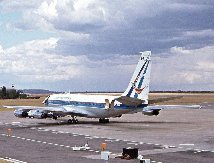 "Air Rhodesia Boeing 720-025 VP-YNN ""Mashonaland"" at Bulawayo-International, circa 1973. (Photo via Flickr: Kai Hansen)"