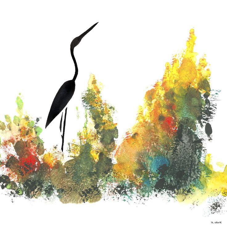 """""""Lingering Essence"""" #artwork of the day: #watercolor & ink on paper. For SALE in my online shop, link in bio. #art #painting #AbstractIntersection #heron #egret #wetlands"""