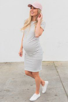 Ivory Navy Striped Fitted Short Sleeve Maternity Dress