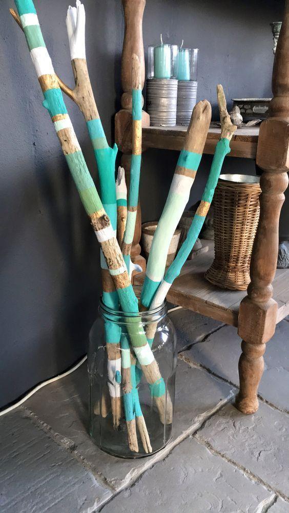 Gemaltes Treibholz in einer Treibholzvase # # # # … – #einer #Gemaltes #lumine… – garten