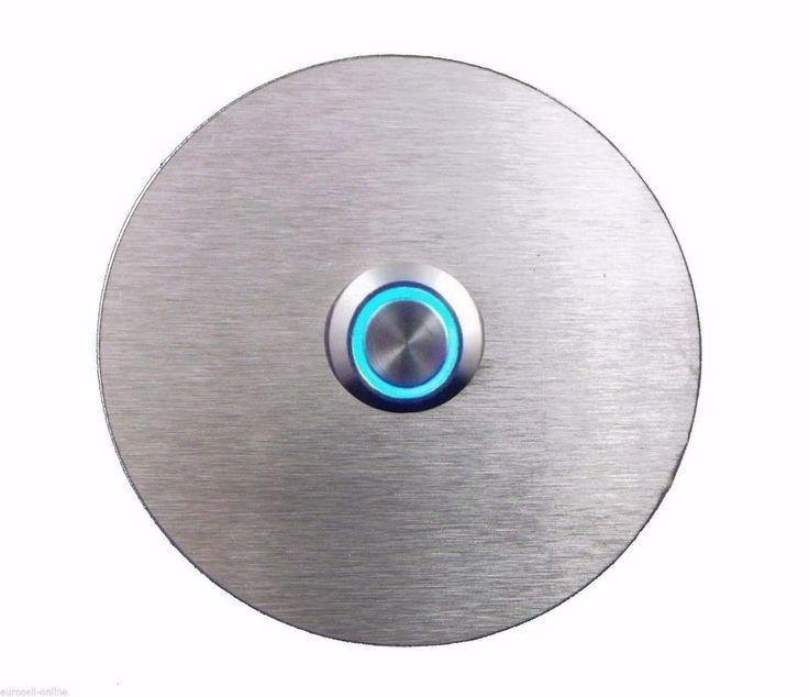 TÜRKLINGEL. Klingelplatte- EDELSTAHL - Knopf  LED Blaues Licht - Design - Rund