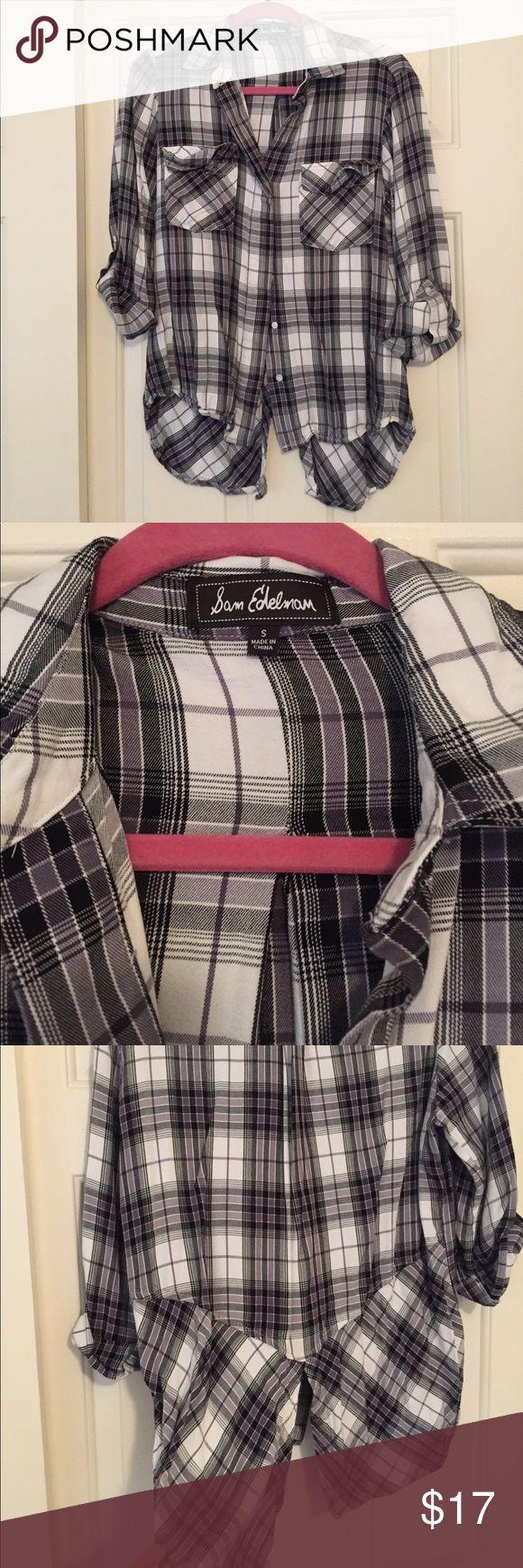 Sam Edelman shirt Black and white soft material. High low cut. Runs a little big Sam Edelman Tops Button Down Shirts