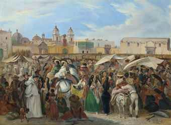Johann Moritz Rugendas (1802-1858) The Independencia market, Lima