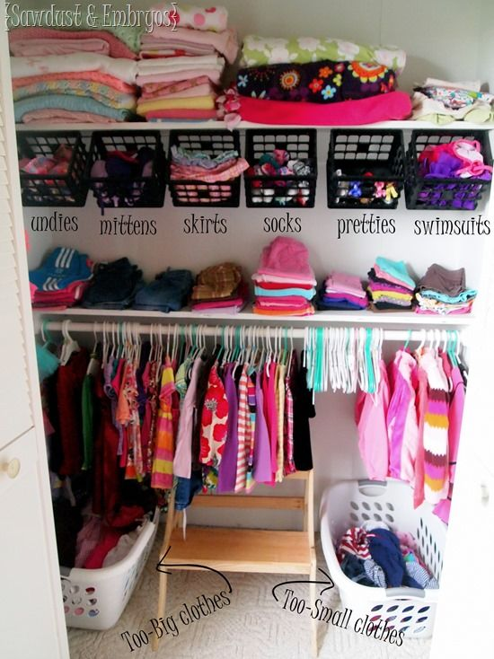 Little girls' closet organization ideas {Sawdust and Embryos} - Love the baskets at the bottom and the hanging baskets from the shelf