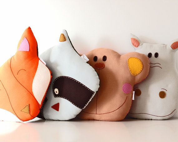 Fox Pillow Cushion Handmade Room Decoration by TheFoxintheAttic, £28.00