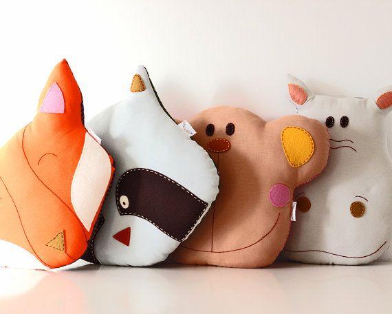 Fox Pillow Cushion Handmade Room Decoration by TheFoxintheAttic, £28.00