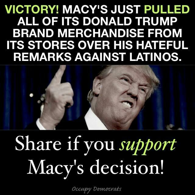 """Think of all the jobs that will be lost by the people who make his line of cheap clothes...in MEXICO and CHINA! Macy's had come under intense pressure to cut ties with the real estate magnate and businessman after he referred to immigrants from Mexico and other countries as """"killers and rapists."""""""