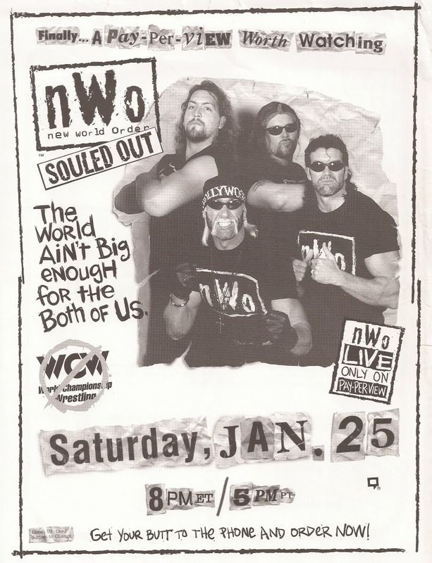 NWO Souled Out 1997 - I reviewed this on my blog here -  http://sirjorgewwe.blogspot.com/2017/03/wcw-souled-out-1997-results-and-review.html