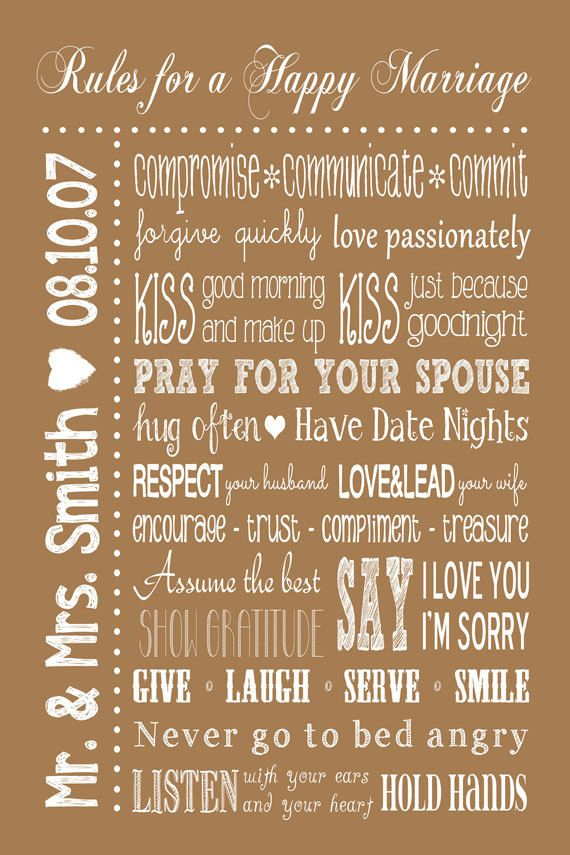 Rules for a Happy Marriage Sign PRINTABLE. Personalized wedding gift. Master bedroom decor by JoyfulArtDesigns. $11.00