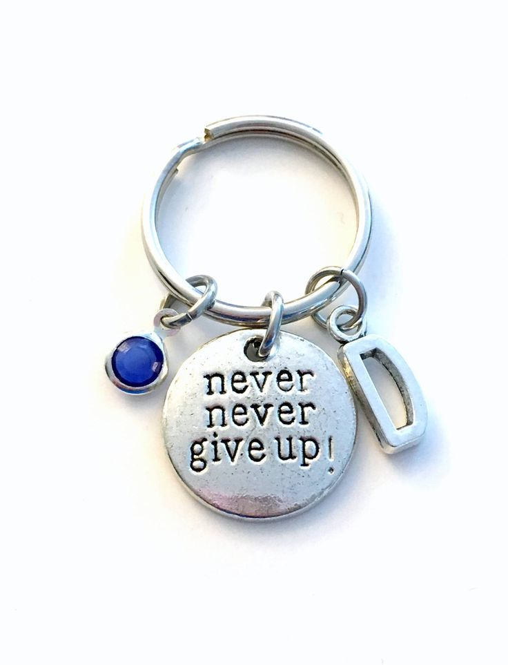 SALE - Motivational Keychain, Never Give up Key chain, Silver Crossfit Keyring, Personalized Gift for Survivor, Hope Encouragement Love 67 by aJoyfulSurprise on Etsy