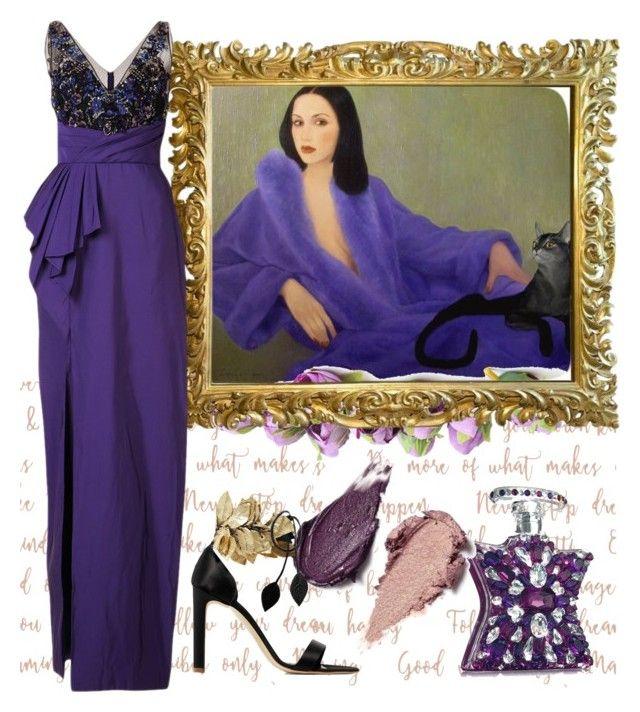 . by valeriac on Polyvore featuring polyvore fashion style Notte by Marchesa Rupert Sanderson Rituel de Fille Bond No. 9 clothing purplepower internationalwomensday pressforprogress