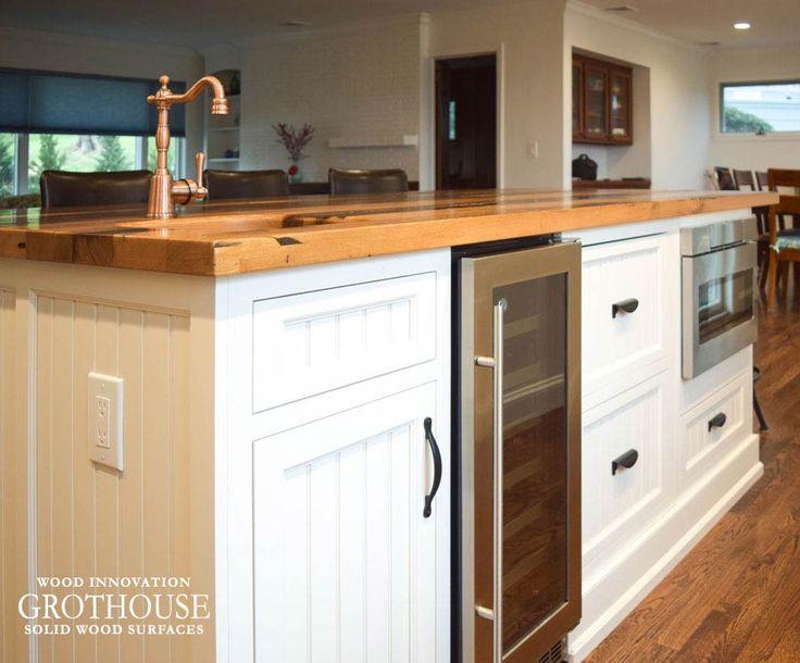 Reclaimed Chestnut Counter On White Kitchen Island Https://www.glumber.com