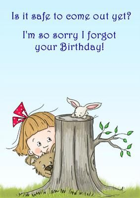 Hide And Seek Belated Birthday Card on Craftsuprint designed by Crafty Bob - This cute card is perfect for saying sorry you forgot someone's birthday and definitely better late than never! Can be personalised with your choice of text. - Now available for download!