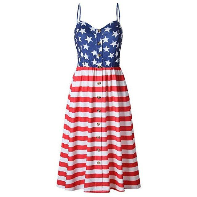 Dress Women Sundress Clothing Flag Loose 4Th Of July Sleeveless Tops Mini Dress Plus Size Color As show Size S