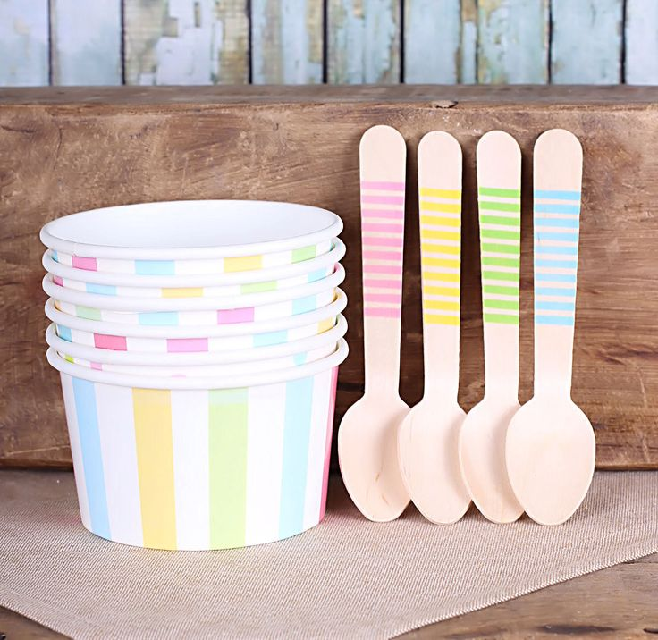 Pastel Rainbow Stripe Ice Cream Cups & Wooden Spoon Set, Pastel Ice Cream Party, Ice Cream Cups (12 Cups and Spoons)  by thebakersconfections on Etsy https://www.etsy.com/listing/171384108/pastel-rainbow-stripe-ice-cream-cups