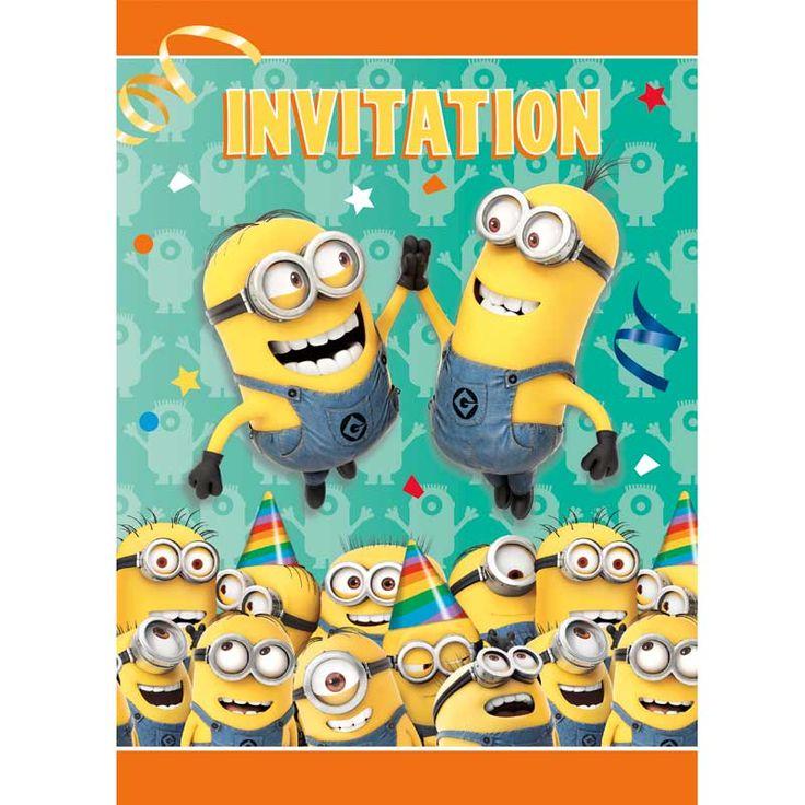 8 Minions Einladungen
