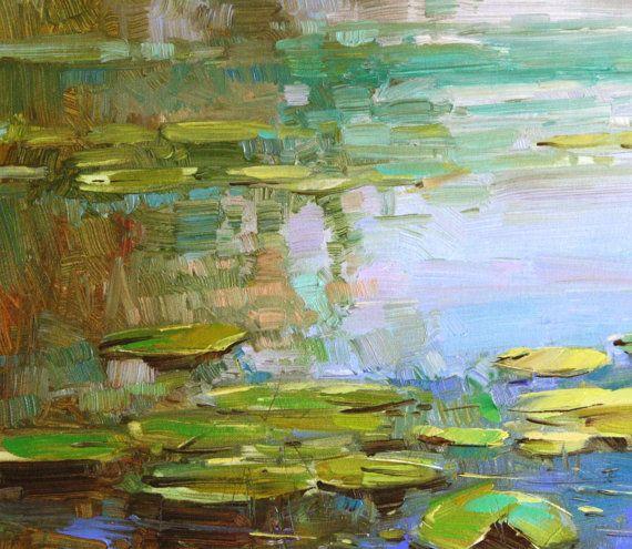 Jardin des n nuphars original peinture huile sur toile for Toile bassin
