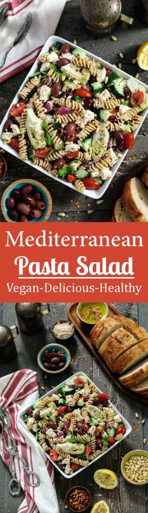 Cool down your summer with this Mediterranean Pasta Salad. It's light, refreshing & chock-full of fresh vegetables. Vegan & gluten-free. Mediterranean Pasta Salad (Vegan & GF) - http://veganhuggs.com/mediterranean-pasta-salad-vegan-gf/