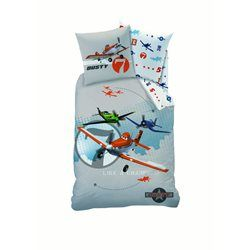 Housse de Couette 1 place 140x200 + Taie d'oreiller 63x63 cm Planes Like a Champion Grey CARS - Housse de couette enfant