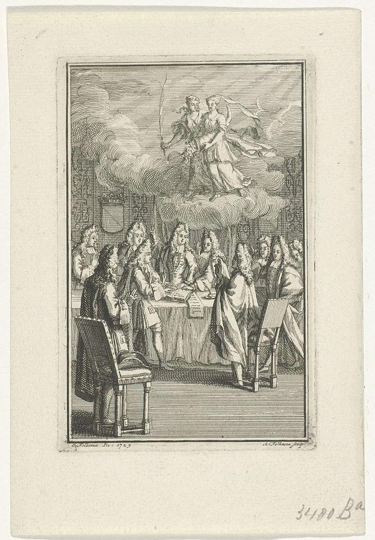 Anna Folkema | Gezelschap aan een tafel, Anna Folkema, 1729 | Een gezelschap heren staat rondom een tafel waarop een opengeslagen boek en beschreven papieren liggen. In de lucht boven de tafel zijn de personificaties van vrede en voorspoed verschenen.