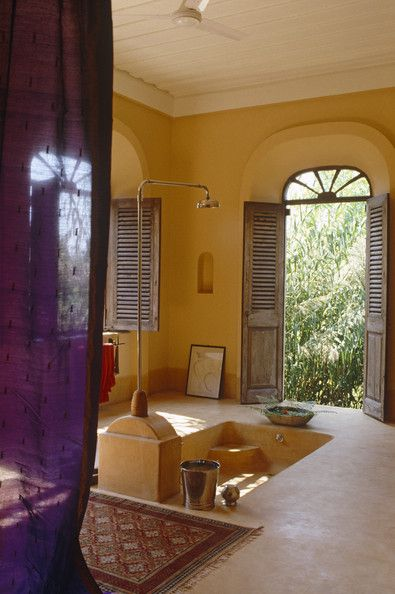 sunken rustic bath | bathroom purple yellow mediterranean decor keywords sunken bath ...