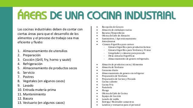 ÁREAS DE UNA COCINA INDUSTRIAL Las cocinas industriales deben de contar con ciertas áreas para que el desarrollo de los al...